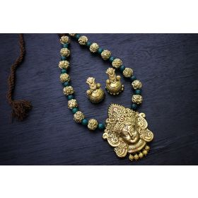 Gunalini Amman Temple Terracotta Jewellery ( Gold-Turquoise Green )