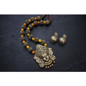 Gunalini Amman Temple Terracotta Jewellery (Antique Bronze-Yellow)